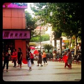 Regular dance group, often seen outside Tesco in Hongkou